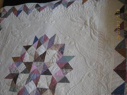 """Текстиль, ковры ручной работы. Ярмарка Мастеров - ручная работа. Купить Лоскутное одеяло - покрывало  """"Прохладная звезда"""" псевдо трапунто.. Handmade."""