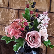 Цветы и флористика ручной работы. Ярмарка Мастеров - ручная работа Букет с гортензией и ежевикой. Handmade.