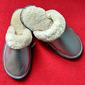 Обувь ручной работы handmade. Livemaster - original item Slippers made of Mouton and mother of pearl leather. Handmade.