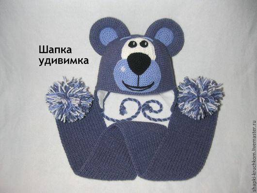 """Шапки и шарфы ручной работы. Ярмарка Мастеров - ручная работа. Купить Комплект шапка и шарф """"Медведь"""". Handmade."""