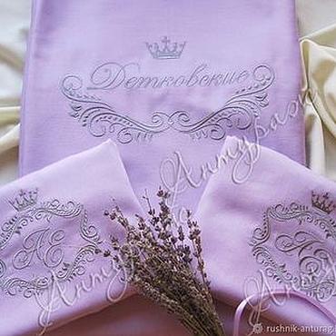 Свадебный салон ручной работы. Ярмарка Мастеров - ручная работа Свадебное Постельное белье с вышивкой 1874 Свадебный вензель. Handmade.