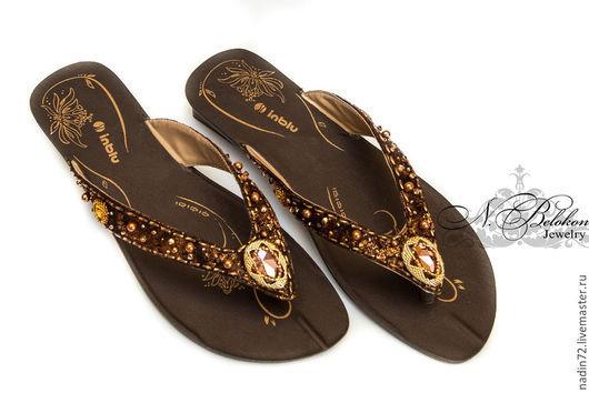 Обувь ручной работы. Ярмарка Мастеров - ручная работа. Купить Декор летней обуви компонентами Сваровски. Handmade. Коричневый, вышивка
