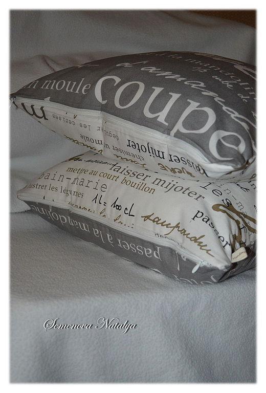 Текстиль, ковры ручной работы. Ярмарка Мастеров - ручная работа. Купить Наволочки декоративные Французская кухня, газетный принт, серый, белый. Handmade.