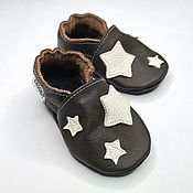 Работы для детей, handmade. Livemaster - original item Dark brown Baby Shoes with Stars ,Baby Leather Slippers. Handmade.