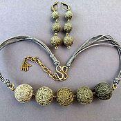Necklace handmade. Livemaster - original item Beads, Textile, Short, Simple Wire Eco Boho Ethnic Green. Handmade.