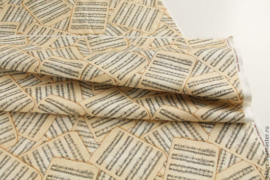 """Шитье ручной работы. Ярмарка Мастеров - ручная работа. Купить Ткань """"Ноты"""" №1. Handmade. Ткани, ткань коллаж"""