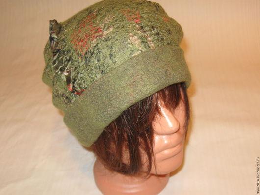 Шапки ручной работы. Ярмарка Мастеров - ручная работа. Купить Валяная шапочка с отворотом. Handmade. Хаки, теплая шапка