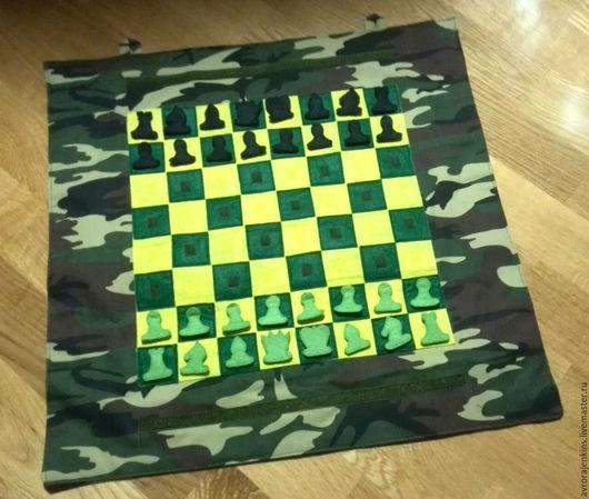 """Развивающие игрушки ручной работы. Ярмарка Мастеров - ручная работа. Купить Панно """"Шахматы"""". Handmade. Шахматы, панно, липучка"""