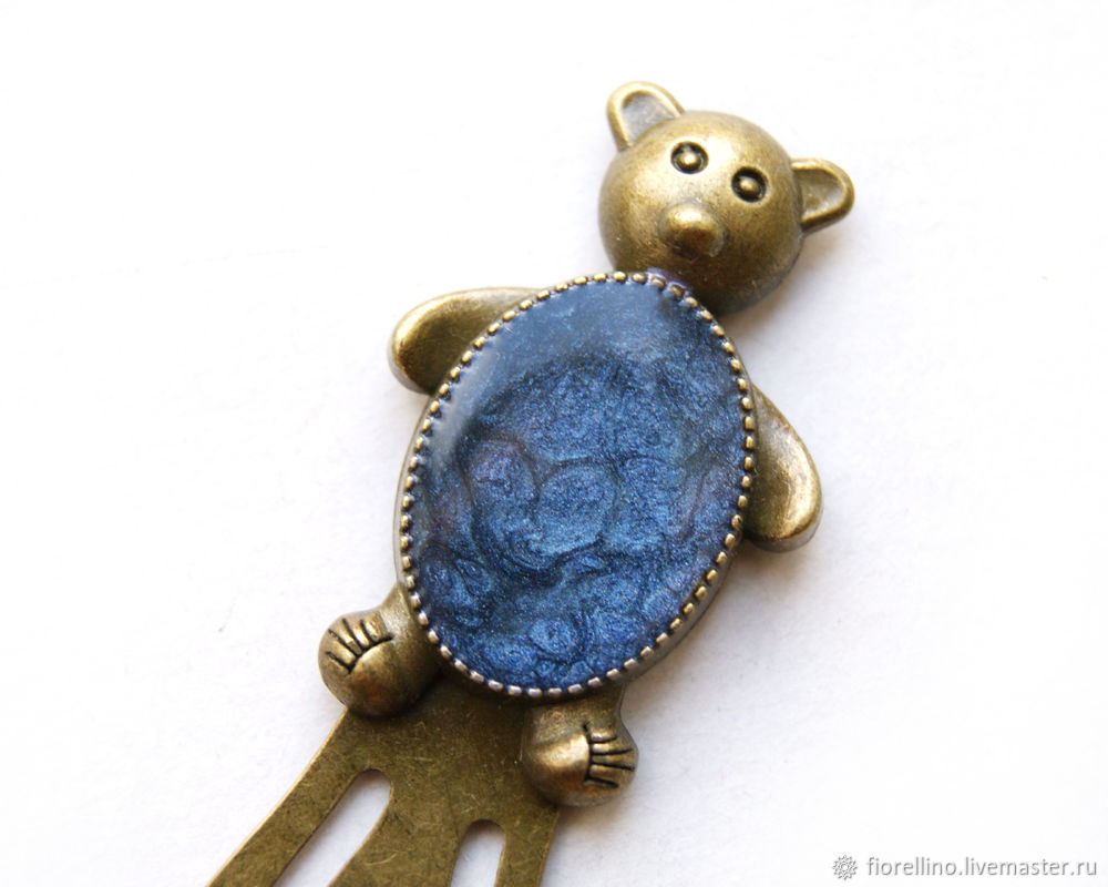 Bookmark for books the Bear blue color, Gifts for February 23, Moscow,  Фото №1