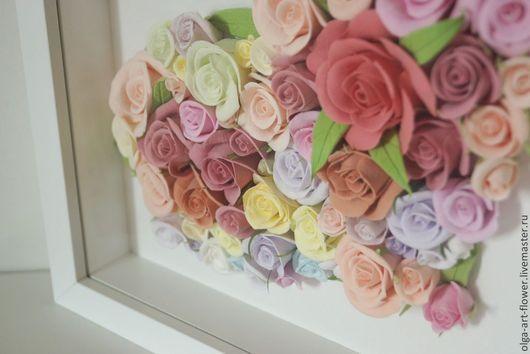 Интерьерные композиции ручной работы. Ярмарка Мастеров - ручная работа. Купить Панно Розы для любимой. Цветы из полимерной глины ручной работы.. Handmade.