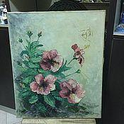 """Винтажные предметы интерьера ручной работы. Ярмарка Мастеров - ручная работа Потрясающая картина """"цветы"""". Холст, масло. Handmade."""