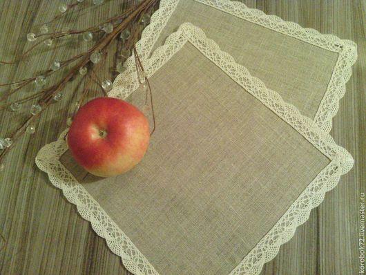 Текстиль, ковры ручной работы. Ярмарка Мастеров - ручная работа. Купить Льняные салфетки. Handmade. Бежевый, декоративная салфетка