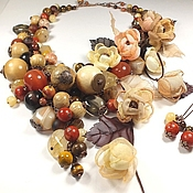 Украшения handmade. Livemaster - original item Sweet Autumn. Jewelry set. Necklace, earrings, fabric flowers.. Handmade.