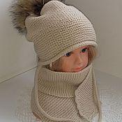 Аксессуары ручной работы. Ярмарка Мастеров - ручная работа Шапочка и шарф для девочки. Handmade.