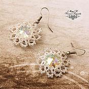 Свадебный салон handmade. Livemaster - original item Lace Snowflake Earrings handmade. Handmade.