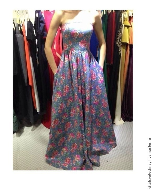 Платья ручной работы. Ярмарка Мастеров - ручная работа. Купить Джинсовое платье-бандо в цветочек. Handmade. Цветочный, Платье в цветочек