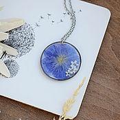 Украшения handmade. Livemaster - original item Pendant with real flowers. Pendant with linen. Blue pendant. Handmade.