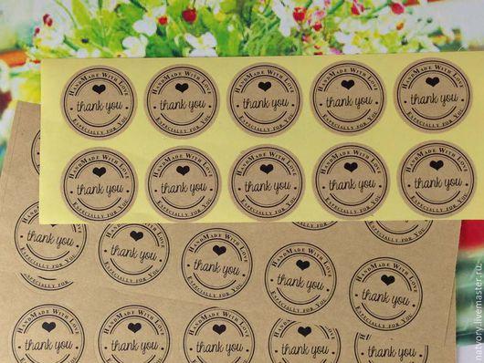 """Упаковка ручной работы. Ярмарка Мастеров - ручная работа. Купить Крафт наклейки 10 шт. """"Thank you"""", 3,5 см для подарка, упаковки. Handmade."""