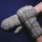 Аксессуары handmade. Livemaster - original item Men`s knitted mittens Silver Frost. Handmade.
