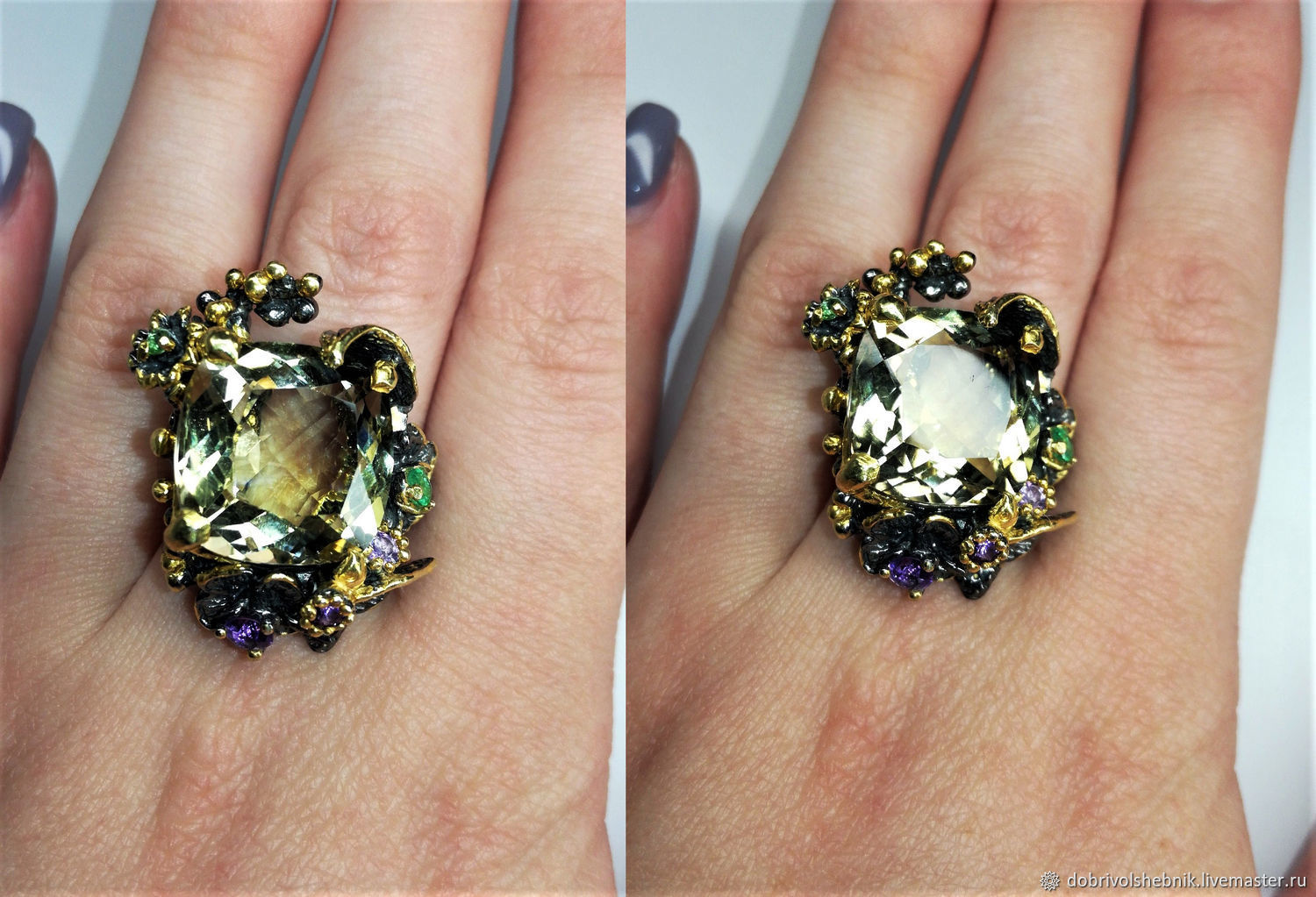 Ring 'Flowers in the forest' with green amethyst, Rings, Novaya Usman,  Фото №1