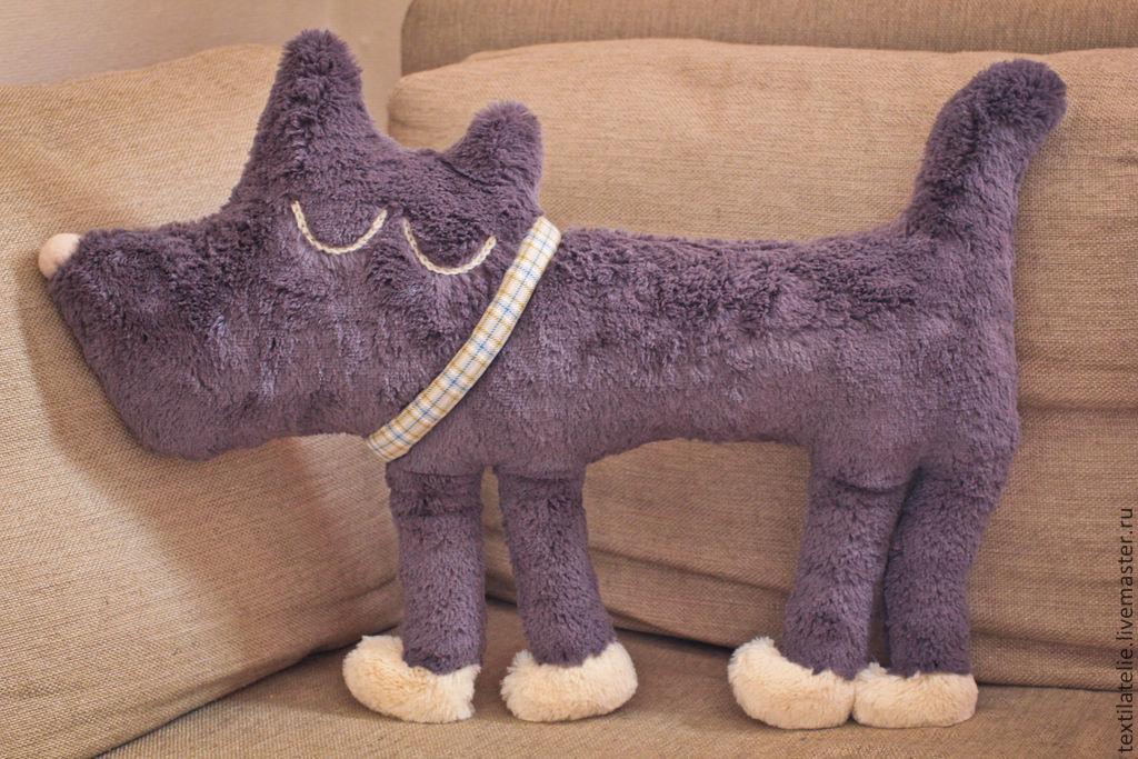 Интерьерная мягкая игрушка-подушка из меха Спящая собачка, Подушки, Москва,  Фото №1