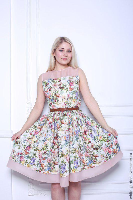 Платья ручной работы. Ярмарка Мастеров - ручная работа. Купить Платье из штапеля и органзы с цветочным принтом. Handmade. Комбинированный