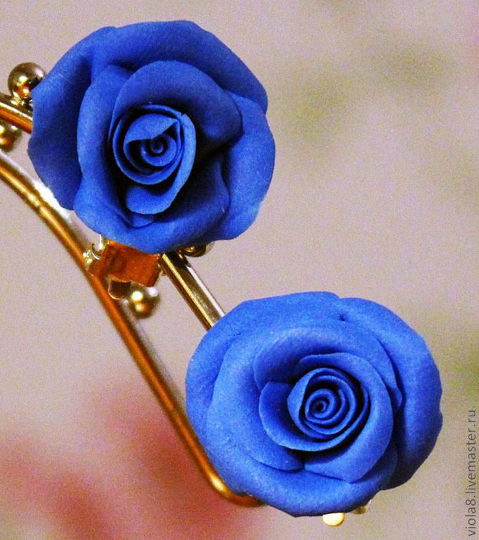 422b7722ee56 ... клипсы,клипсы цветы,клипсы с синими розами,клипсы розы,серьги с цветами
