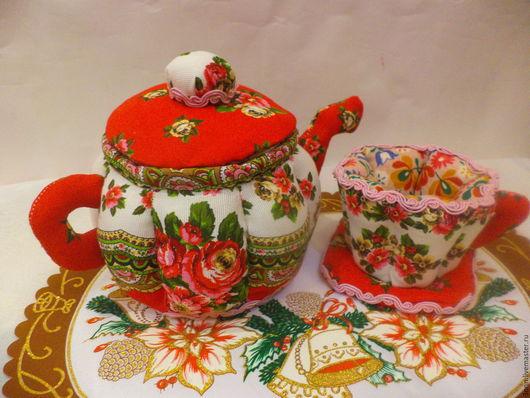 Кухня ручной работы. Ярмарка Мастеров - ручная работа. Купить чайник и чашка из ткани. Handmade. Комбинированный, шкатулка, чайные пакетики
