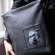 Сумки и аксессуары handmade. Livemaster - original item 3D gorilla Bag made of black genuine leather. Handmade.