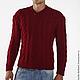 Для мужчин, ручной работы. Ярмарка Мастеров - ручная работа. Купить Мужской свитер вязаный. Handmade. Коралловый, малиновый, свитер