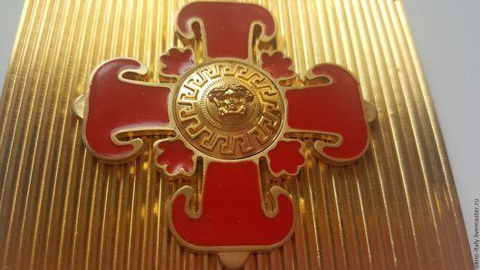 Шитье ручной работы. Ярмарка Мастеров - ручная работа. Купить Пряжка «Versace» с крестом. Handmade. Золотой, versace, пряжка для ремня