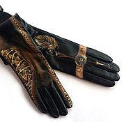 Аксессуары handmade. Livemaster - original item Black leather steampunk gloves. Custom order for Ekaterina. Handmade.
