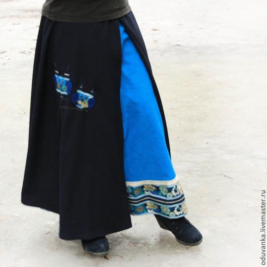 Юбки ручной работы. Ярмарка Мастеров - ручная работа. Купить Шерстяная юбка с совами. Handmade. Синий, юбка бохо, джинса
