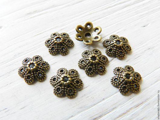 Шапочка для бусин цвет бронза, размер 9.5x10x3 мм, отверстие 1,5 мм, материал - сплав металлов, не содержит никеля, свинца (арт. 2236)