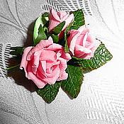 """Украшения ручной работы. Ярмарка Мастеров - ручная работа Мини-брошь """"Букетик любимых роз"""". Handmade."""