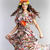 Одежда ручной работы. Ярмарка Мастеров - ручная работа шелковое платье с рукавами крылья. Handmade.