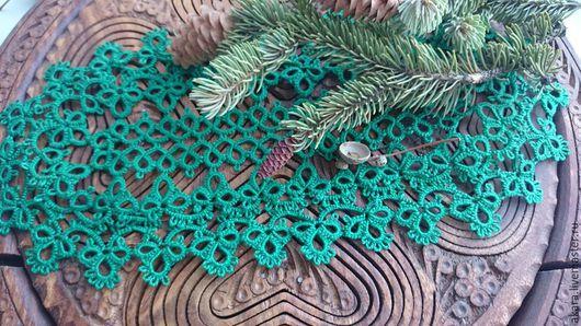 """Текстиль, ковры ручной работы. Ярмарка Мастеров - ручная работа. Купить салфетка""""Изумрудный лес"""". Handmade. Зеленый, лес, шишки"""