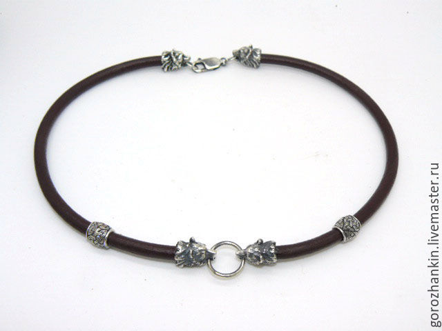 Chalker, cord, lace `BEARS` silver 5mm handmade gift man man on New year's February 23 birthday on every day to buy in Moscow