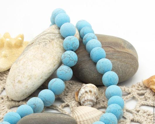 Для украшений ручной работы. Ярмарка Мастеров - ручная работа. Купить Говлит матовый голубой бусины шар 10мм - арт.12-10. Handmade.