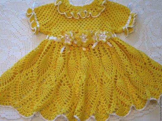Одежда для девочек, ручной работы. Ярмарка Мастеров - ручная работа. Купить Платье и пинетки крючком Мамино солнышко. Handmade. Желтый