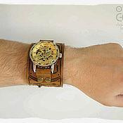 Украшения ручной работы. Ярмарка Мастеров - ручная работа Часы с кожаным браслетом в стиле стимпанк Око Хроноса. Handmade.