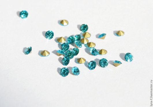 Для украшений ручной работы. Ярмарка Мастеров - ручная работа. Купить 50шт Стразы голубые для вклеивания, стекло. 2мм. Handmade.
