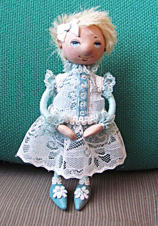"""Человечки ручной работы. Ярмарка Мастеров - ручная работа. Купить Сувенирная куколка""""Девочка-припевочка"""". Handmade. Человечки, голубой, тесьма метализированая"""