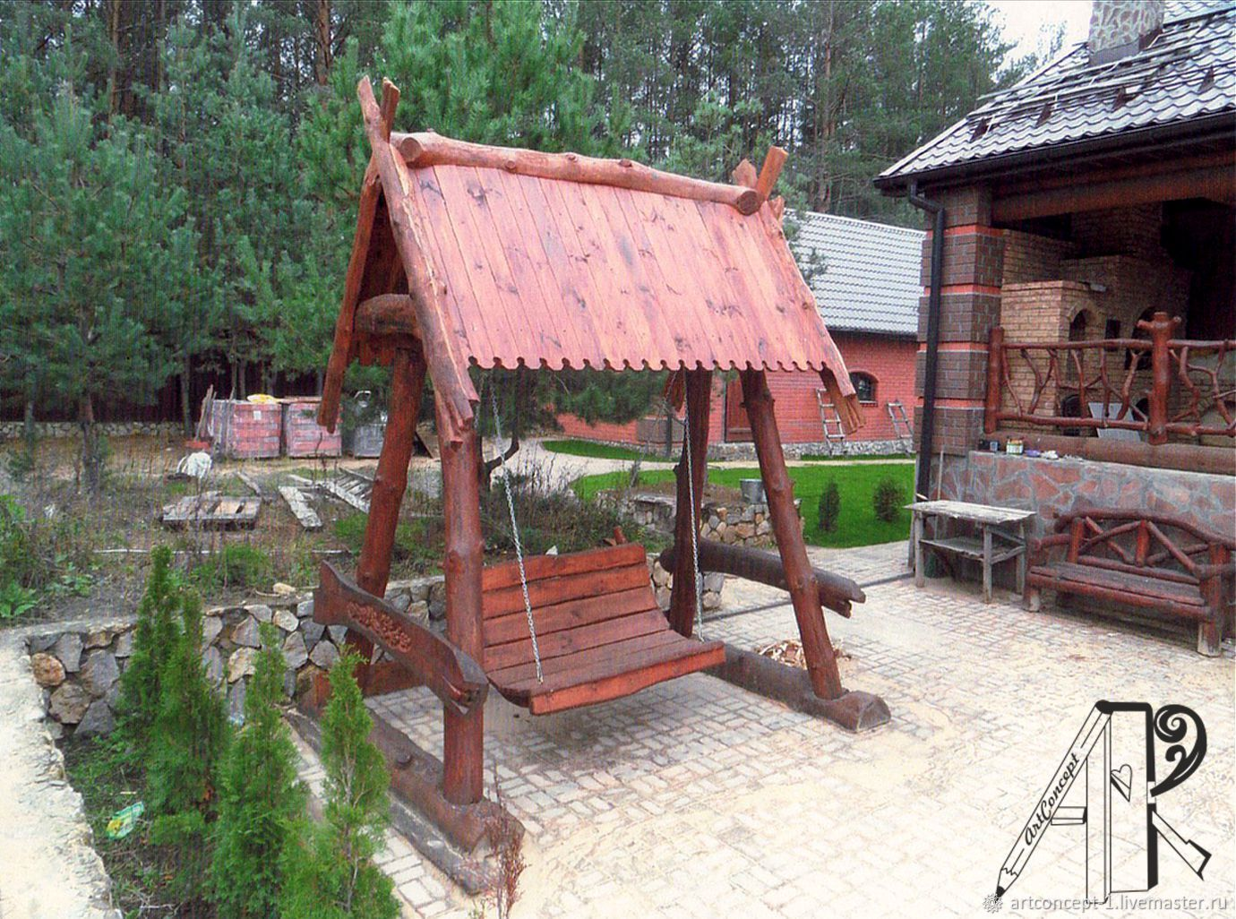 Garden swing made of wood (array) with roof, Garden swing, Ryazan,  Фото №1