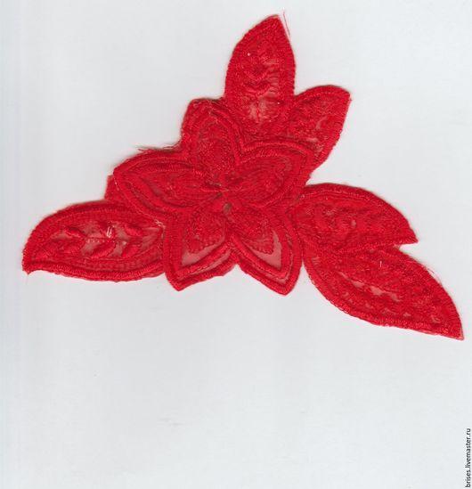 Шитье ручной работы. Ярмарка Мастеров - ручная работа. Купить Аппликация Термо 9,4х15 см Красный Цветок с вышивкой. Handmade.