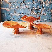 Для дома и интерьера ручной работы. Ярмарка Мастеров - ручная работа керамические грибы-лисички с расплавленным стеклом. Handmade.
