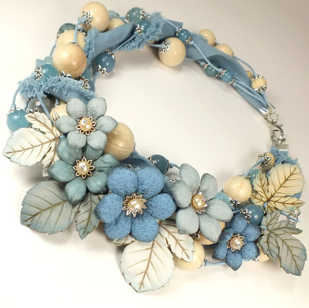 Light Denim Etude. Necklace, flowers made of genuine leather, Necklace, St. Petersburg,  Фото №1