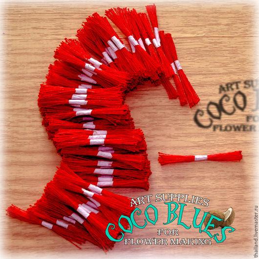 Красные мелкие  тычинки на красной нити 100 пучков  Тайские тычинки очень хорошего качества. Двусторонние. Длина нити около 6 см.   `Кокосов Блюз` Таиланд  (c) Coco Blues (Thailand) Co. Ltd