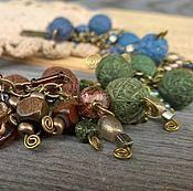 Украшения handmade. Livemaster - original item Bracelet Designer Chain Blue Indigo Green Brown Boho. Handmade.