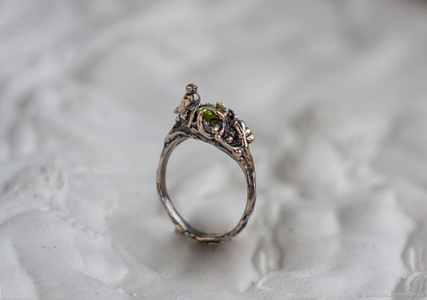 Bronze silver ring 'TAURIEL' with chrysolite, Rings, Moscow,  Фото №1